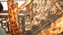 Комбинирование кованого металла и дерева в дизайне лестницы